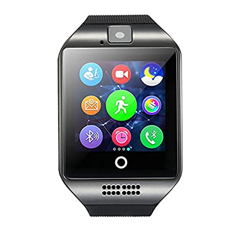Neuf Q18 Bluetooth Smart Watch écran tactile Camera TF Card Facebooks Twitter podomètre moniteur de sommeil montre intelligente pour iOS Android, noir