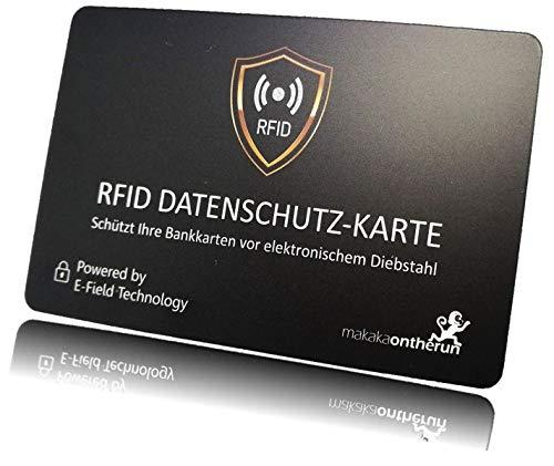 Original RFID Blocker Karte von MakakaOnTheRun (NFC Schutz) - Eine einzige Karte genügt - Nur 0,86mm dünn - Elektronischer Störsender statt Alufolie