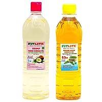 FITLITE Combo Nature Coconut Wood Chekku Oil 1 LTR + Sesame Chekku Oil 0.5 LTR