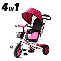 All Road Trikes Childs 4 in 1 Trike - White & Pink - Push along Pedal Kids Tricycle CE Approved