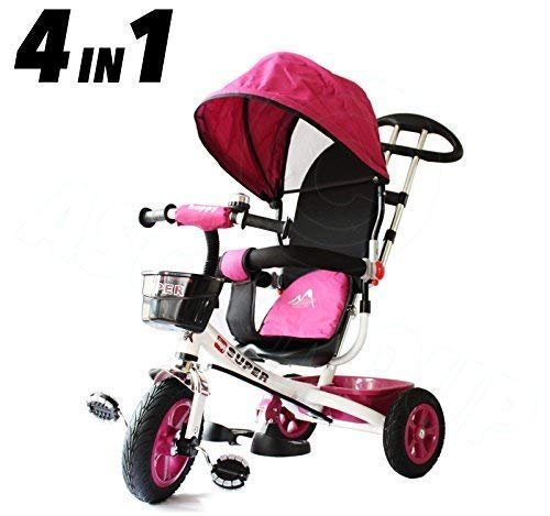 All Road Trikes Niños 4 en 1 Trike - Blanco y Rosa...
