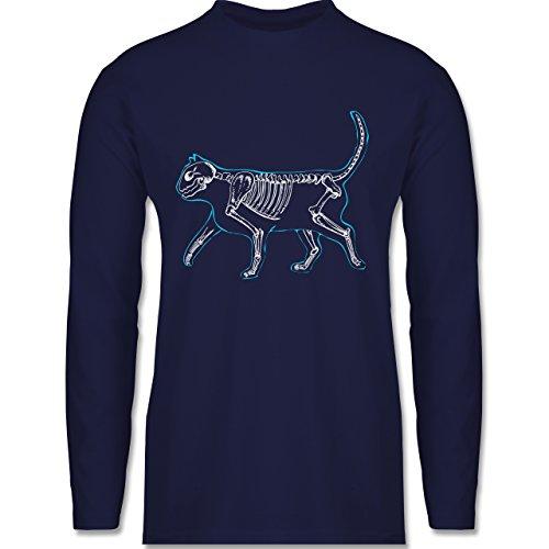 Shirtracer Katzen - Spooky Cat - Herren Langarmshirt Navy Blau