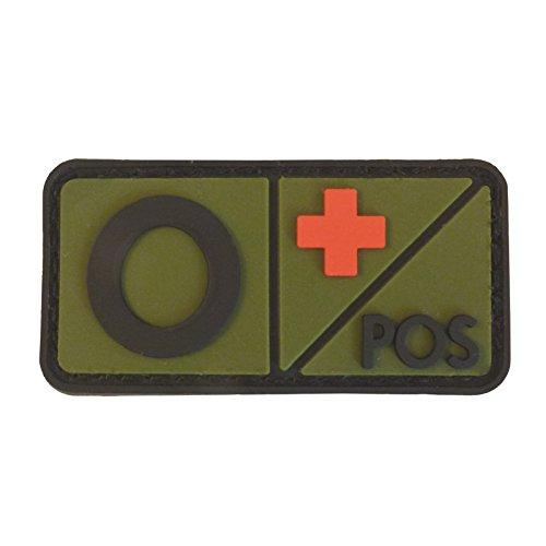 Olive Drab OD Blutgruppen Morale Taktisch Tactical PVC Gummi 3D Fastener Aufnäher Patch Od-olive Drab