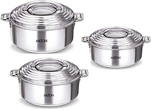 Milton Thermosteel Galaxia Insulated Casseroles, Set of 3, Silver (1000ml,...