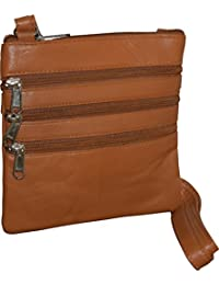 London Stitch Women'S Genuine Leather Multi Pocket Small Crossbody Bag (Tan)