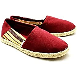 Red canvas espadrilles / pumps with side stripes