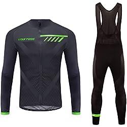BurningBikewear Uglyfrog Maillot de Ciclismo, Culotte Ciclismo Hombre Invierno de Manga Larga Jersey + Pantalones RTMX01