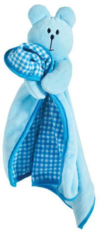 Cute Puppy Blanket with Squeaky Toy Head and Soft Plush (Blue) 1