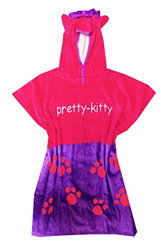 Serviette Poncho à capuche Nifty Kids pour enfants Garçons et Filles Maison de plage et usure, Coton, Pretty Kitty, Taille unique