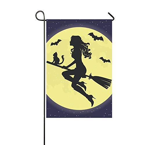 JOCHUAN Wohnkultur Schöne Silhouette Hexe Auf Besen Garten Flaghouse Yard Flaggarden Yard Decorationsseasonal Willkommen Outdoor Flagge 12X18 Zoll (Mädchen Silhouette Charme)