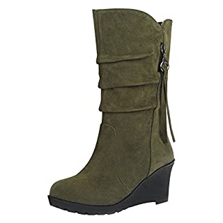 Eastlion Women's Autumn and Winter Outdoor Keep Warm Fleece Lined Wearable Snow Boots Wedges Shoes,Army Green 43