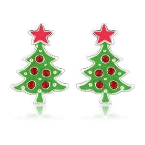 Boucles d'oreilles fantaisie en forme de sapin de Noël