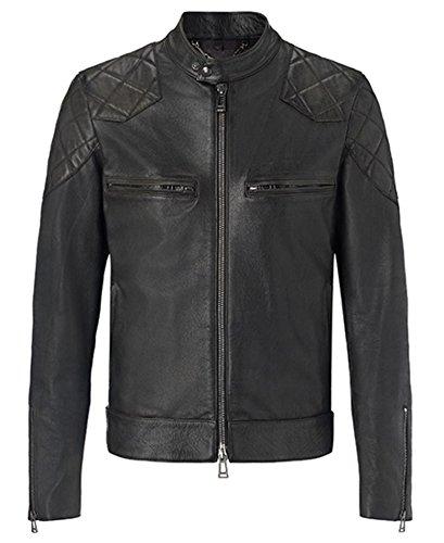 NEU David Beckham Jacke Celebrity Herren Fashion Vintage Smart Fit Echtes Leder Casual Jacken aktuelle Mode tragen schwarz (Top Leder Verarbeitetes)