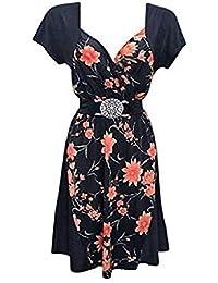 Holidaysuitcase - Femmes grande taille Fête de noël soirée flatteur contraste robe 12 -26 UK