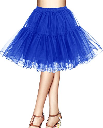 Bridesmay Kurz Retro Petticoat Rock 1950er Vintage Tutu Ballett Unterkleid Royal blue L (Blau Rock Royal)