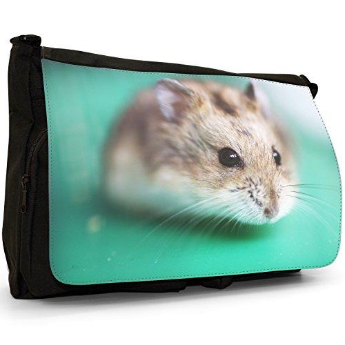 Hamster auf Grün Große Messenger- / Laptop- / Schultasche Schultertasche aus schwarzem Canvas (Grüne Hamster)
