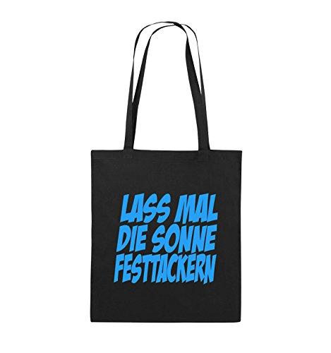Comedy Bags - LASS MAL DIE SONNE FESTTACKERN - Jutebeutel - lange Henkel - 38x42cm - Farbe: Schwarz / Silber Schwarz / Blau
