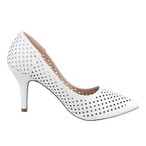 Ital-Design - Scarpe con Tacco Donna Bianco (bianco)