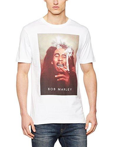 Mister Tee Herren Bob Marley Smoke T-Shirts, White, L -