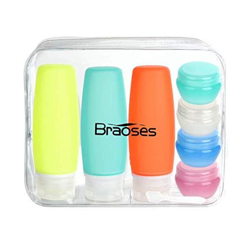 8 Pack Reiseflaschen Braoses 100ml Silikon Reiseflaschen Set Auslaufsicher Reisebehälter mit Kulturbeutel TSA genehmigt für flüssigkeiten, Shampoo, Spülung, Duschgel, Lotion, Toilettenartikel