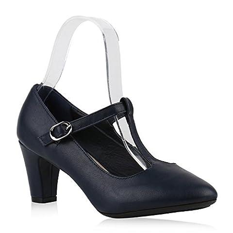 Damen Pumps T-Strap Spitze High Heels Riemchenpumps Stilettos Zierperlen Nieten Blockabsatz Schuhe 143498 Dunkelblau Glatt 41 | Flandell®