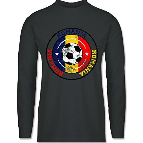 EM 2016 - Frankreich - Romania Kreis & Fußball Vintage - Longsleeve / langärmeliges T-Shirt für Herren Anthrazit