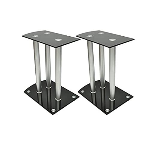 Anself Aluminum Speaker Stands Safety Glass Black Set of 2