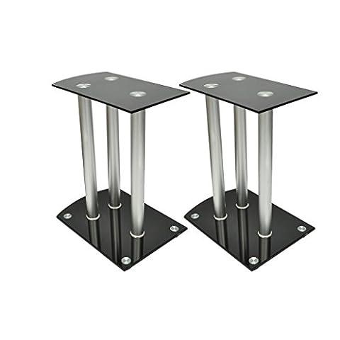 Anself Aluminum Speaker Stands Safety Glass Black Set of 2