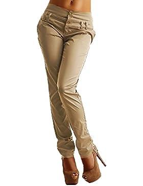 StyleDome Donna Pantaloni Matita Casuali Tasche Ufficio Pulsanti