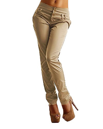 StyleDome Mujer Pantalones Largos Moda Elegantes Botones Oficina Negro EU 42