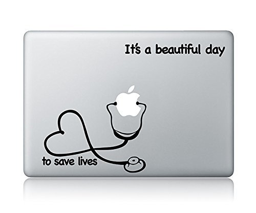 idecalworks Stethoskop Herz und IT 'S A Beautiful Day, Leben zu Retten Grey 's Anatomy Laptop Apple MacBook Vinyl Aufkleber Aufkleber Apple Mac Air Pro Laptop Aufkleber (Sticker Aufkleber Stethoskop)