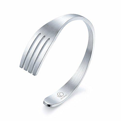 City Ouna® Regalo gioielli titanio acciaio nero novità forcella Bracciali Bangle per coppia maschio femmina (Argento Volpe)