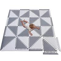 meiqicool Foam Floor Tiles Foam Play Mat Large Baby Play Mat Jigsaw Puzzle Mat Big Foam Play Mat Thickened Soft Non Toxic 32 Pcs (139 x 139 x 1cm) Grey with white 3510HUI