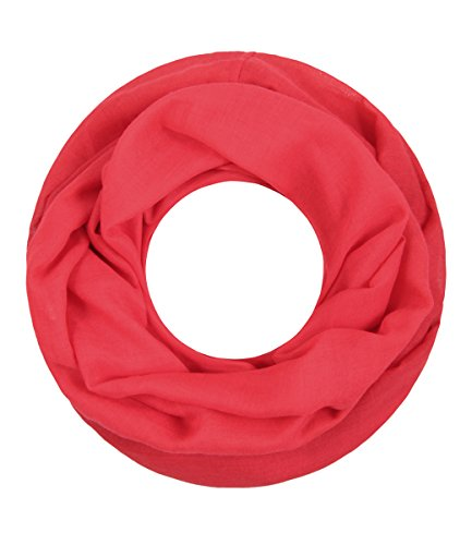 Majea Loop Cary Basic Schal Tuch Damen-schal Schlauchschal Rundschal Halstücher uni unifarben Loopschal einfarbig (rot)