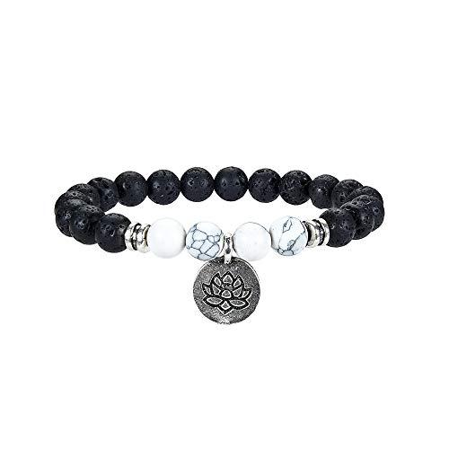 ULGAI Lava Stein Armband, Natürliche Edelsteine Heilung Crystal Stretch Perlen Armband für Männer und Frauen mit Lotus Charm, Chakra Yoga Armband für Aromatherapie - Heilung Crystal Steine