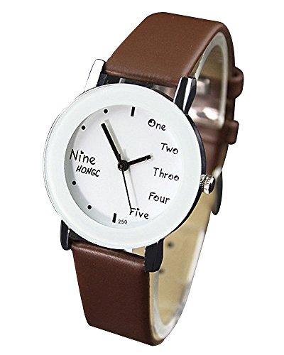 YaZhuoLun Mädchen Jungen Armbanduhr,Legierung Kunstleder Studenten Quarzuhren Uhren Uhr,7 Farboptionen(Braun)