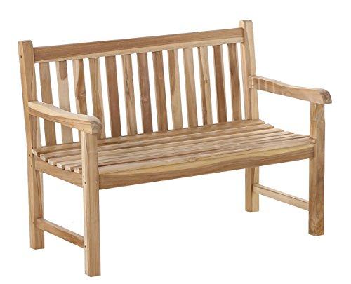 SAM Möbel Outlet Gartenbank Java aus Teak-Holz mit Arm- und Rückenlehne | massive Holzbank mit 120 cm Breite | stabil und witterungsbeständig | natürliche Optik