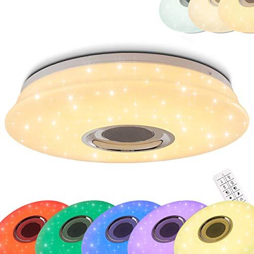 farbwechsel deckenleuchte Runde LED Deckenleuchte Hemlo mit Sternen - inkl. RGB Farbwechsler und Bluetooth Lautsprecher - Deckenspot mit Fernbedienung und farbigem Licht - 3000 Kelvin - 1400 Lumen -