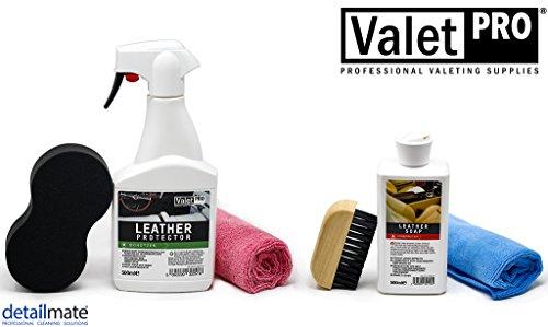 detailmate Leder Pflege Schutz Set aus ValetPro Leather Soap 0,5 l - Leather Protector 0,5 l - Leder Reinigungsbürste - Schwammaplikator - 2X Mikrofasertuch 40cm x 40xm -
