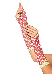 Leg Avenue 2716 Duel Net Neon Arm Warmer One Size N.Pink With Lime