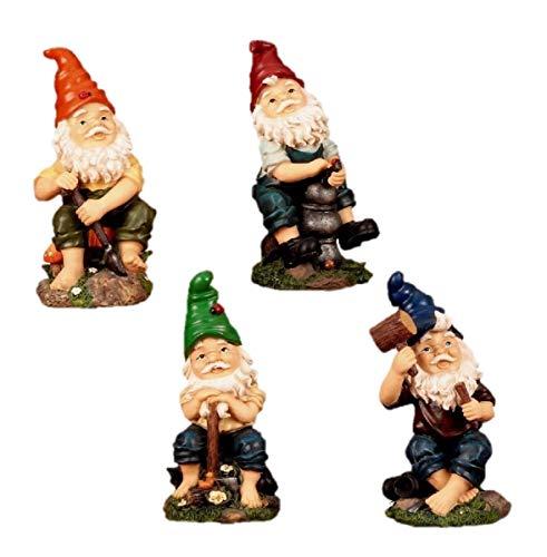 4 Lustige Gartenzwerge Gnome 22cm NEU Gartenzwerg NEU