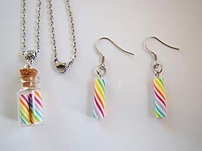 Coffret cadeau de noël collier et boucles d'oreilles enfants fioles bonbons multicolores polymère fimo