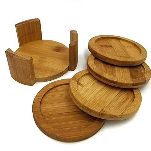 Untersetzer-Set mit Halterung | Bambus Holz | inkl. 4Runde Untersetzer und Halter | Verwendung für Getränke, Getränke, Bier, und Kaffee. |-Küche | Einzugs | Best Friend Geschenkidee Bambus Coaster Set