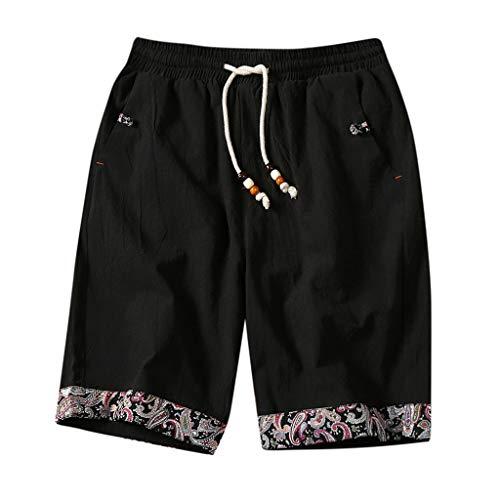 ZYUEER Kurze Hosen Herren Sommer Männer Haremshosen Strandhosen Hose Shorts aus Baumwolle und Leinen mit Ethno-Print Aladinhose Pluderhose