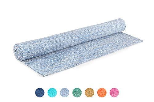 Elephant Yoga - Handgewebte Matte aus biologischer Baumwolle - Ideal für Ashtanga Yoga und andere Yogaarten ... (Himmelblau)