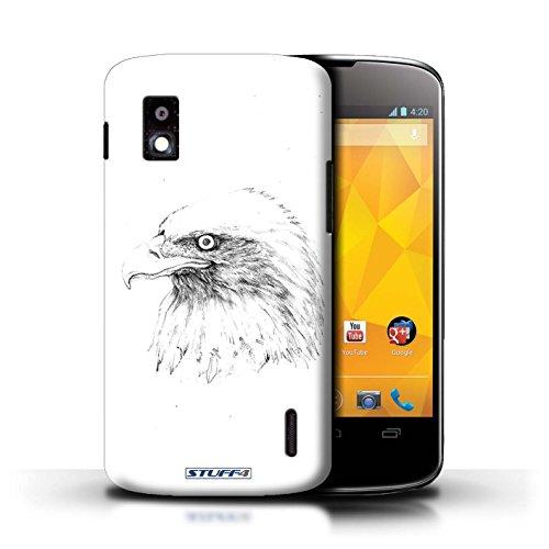 Kobalt® Imprimé Etui / Coque pour LG Nexus 4/E960 / Léopard conception / Série Dessin Croquis Aigle / Oiseau