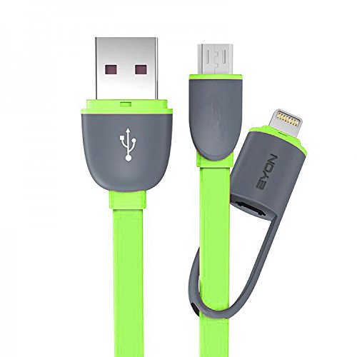 Speedwav EYON 2in1 Micro USB/Lightning Port Data USB Cable for Android/iPhone5/6/7-Neon Green