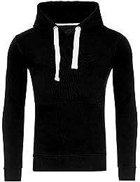 Young & Rich Hoodie Herren Basic Sweater Sweatshirt Uni Hoody Kapuzenpullover Pullover mit Kapuze in der Farbe Schwarz L
