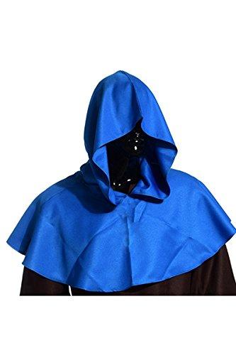 YMING Mönch Priester Robe Mönch Mittelalterliche Kapuze Kapuzenmönch Renaissance Robe (Robe Blaue Kostüm)