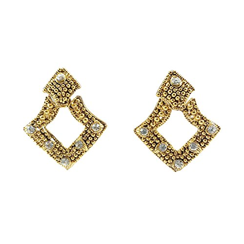 Luxaim Stylish Designer Gold Plated Stud Earrings for Girls, Women, Ladies with Dazzling Golden Ethnic Traditional New Party Wear Fancy Special Fashion Wedding Collection Accessories Design at Low Price Cost Great for Jewellery Diwali Festival Gift for Girlfriend & Sister  available at amazon for Rs.199